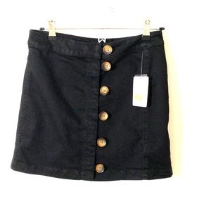 Free People Black denim skirt front buttons